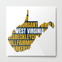 West Virginia State Map Home Towns 304 Country Roads Metal Print