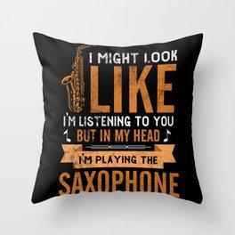 Music Blues Jazz Saxophone Trumpet Throw Pillow