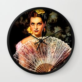 Jesus Helguera Painting of Spanish Beauty with Lacey Fan Wall Clock