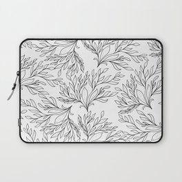 Modern hand painted black white floral leaves Laptop Sleeve