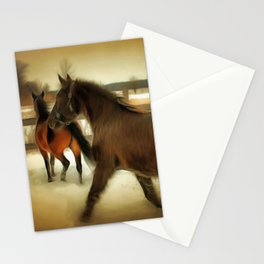 Horses Along a Fence in Snow in Winter. Golden Age Painting Style. Stationery Cards