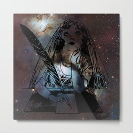 Galaxy Gypsy Writing a Letter to the Cosmos Metal Print