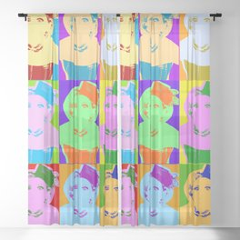 Poster with girl in popart style Sheer Curtain
