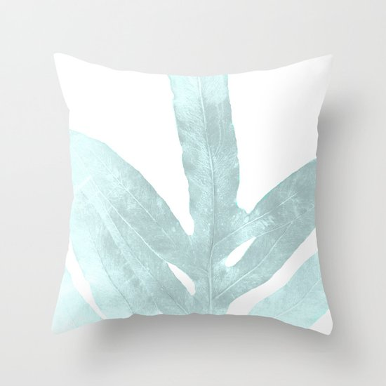 Ice Blue Throw Pillows : Ice Blue Fern in Summer White Throw Pillow by ANoelleJay Society6