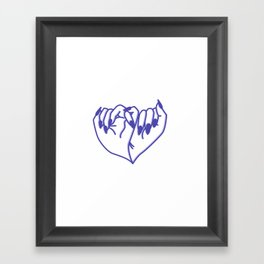 Best Friend Galentine's Day Pinky Promise Pattern in Blue Shadow Framed Art Print