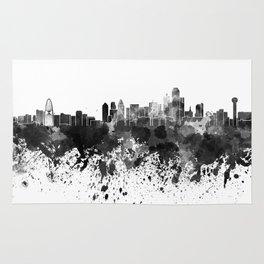 Dallas skyline in black watercolor Rug