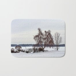 Weeping Willow on the Frozen Lake Bath Mat