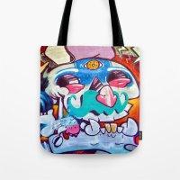 grafitti Tote Bags featuring Grafitti Clown by Valann
