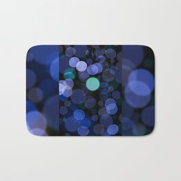 Blue bokeh circles blurry texture Bath Mat
