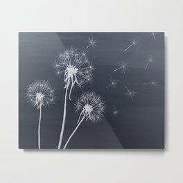 Black and White Wishing upon a Dandelion Metal Print