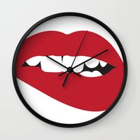 hitchcock Wall Clocks featuring Hitchcock Starlet by The Headless Fish