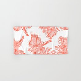 Tropical Palm Leaves Hibiscus Flowers Deep Coral Hand & Bath Towel
