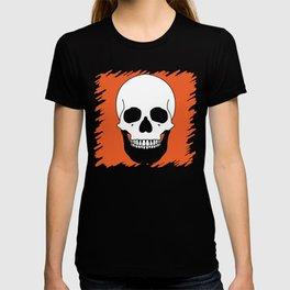 Halloween Orange Skull Design T-shirt