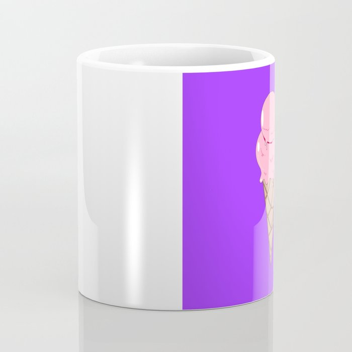 A Strawberry Ice Cream in a Cone with Purple Background Coffee Mug