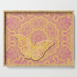 embossed butterfly on mandala Serving Tray