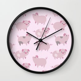 Cute Pink Piglets Pattern Wall Clock