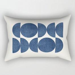Blue navy retro scandinavian Mid century modern Rectangular Pillow