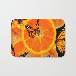 ORANGES & MONARCH BUTTERFLIES ON BLACK Bath Mat