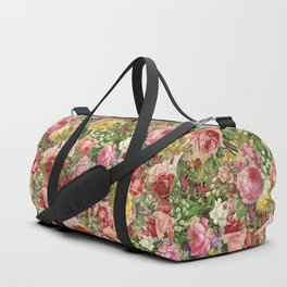 Vintage Retro flower pattern old fashioned Duffle Bag