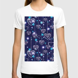 Openwork hearts on bright blue background. T-shirt