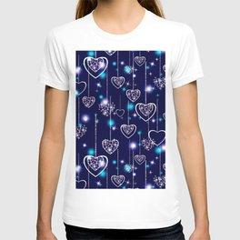 Openwork hearts on bright blue background. T-shirt