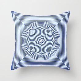3d Tribal African Pattern Blue Throw Pillow