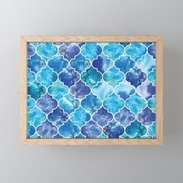 Moroccan Tile Pattern in Blue Watercolor Framed Mini Art Print