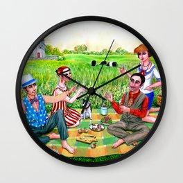1920s Rhode Island. Jamestown, RI painting. Flapper art. Midsummer luncheon. Wall Clock