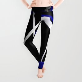 Seamless Royal Blue and White Stripes on A Black Background Leggings