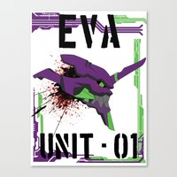 evangelion Canvas Prints featuring Evangelion Unit 01 by Savinity