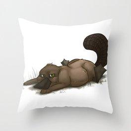 Grumpy Platypus Throw Pillow