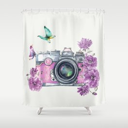 Camera with Summer Flowers 2 Shower Curtain