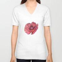 poppy V-neck T-shirts featuring Poppy by Annike
