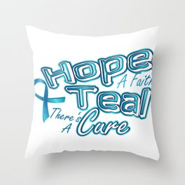 Hope A Faith Teal Ovarian Cancer Awareness Throw Pillow
