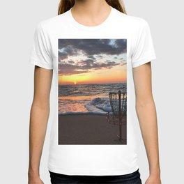 Disc Golf Basket Sunset Virginia Beach Chesapeake Innova Discraft Ocean Waves T-shirt
