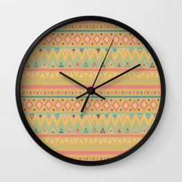 Hand painted geometrical pink teal yellow tribal aztec Wall Clock
