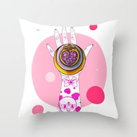 chibi Throw Pillows featuring Chibi Moon by scoobtoobins