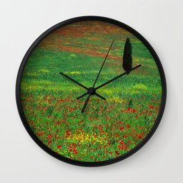 Tuscan landscape with poppies and cypress  Wall Clock