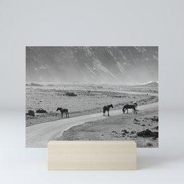 Wild Horses Cross the Road Mini Art Print