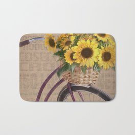 Sunflower Bicycle Bath Mat