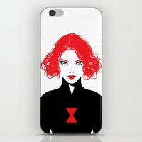 black widow iPhone & iPod Skins featuring Black Widow by Irene Flores