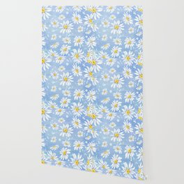 Spring Daisies On Sky Blue Watercolour Wallpaper