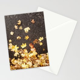 Gold yellow maple leaves autumn asphalt road Stationery Cards