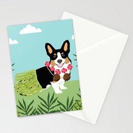 Tri Corgi Hula Dog Summer Tropical Palm Print Palm Tree Dog Stationery Cards