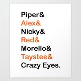 Orange is The New Black Character Names Art Print
