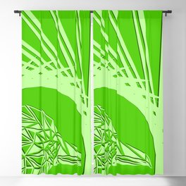 Bright abstract olive bird on a green background in the nest. Blackout Curtain