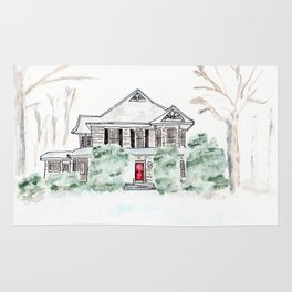 Thistlewood Farm, Watercolor, Farmhouse, Red Door, Kentucky Rug