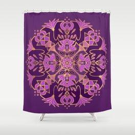 Lotus Mandala - Purple and Gold Shower Curtain