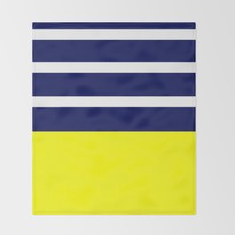 Summer Patio Perfect, Yellow, White & Navy Throw Blanket