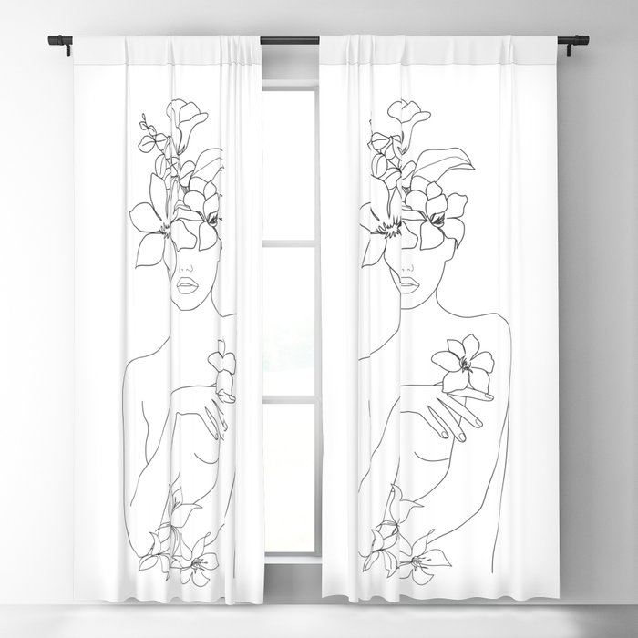 Minimal Line Art Woman with Flowers IV Blackout Curtain